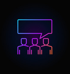 people with speech bubble colorful outline icon on vector image