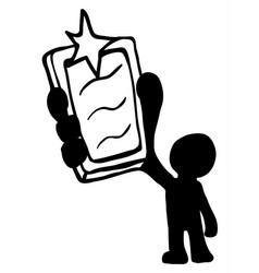 phone flash man stencil vector image
