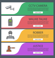 Police web banner templates set vector