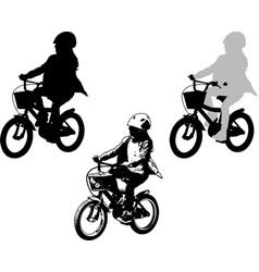 Preschooler girl cycling sketch and silhouette vector