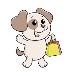 Puppy with shopping bags vector