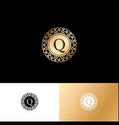 q gold letter monogram gold circle lace ornament vector image