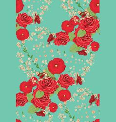 Red roses and poppies ornament vector