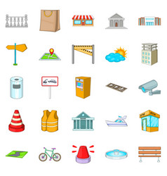 road icons set cartoon style vector image