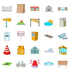 Road icons set cartoon style vector