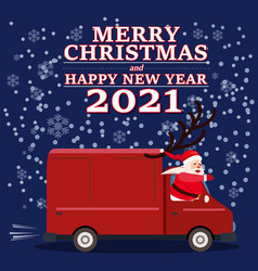 santa claus van with text merry christmas vector image