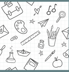 school seamless pattern with hand drawn vector image