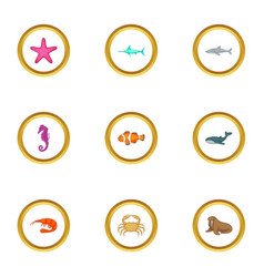 sea animals icons set cartoon style vector image