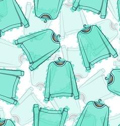 Seamless pattern of transparent blue sweatshirts vector