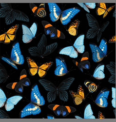 seamless pattern with blue and yellow butterflies vector image