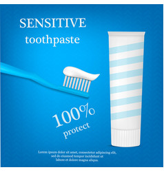 sensitive toothpaste concept background realistic vector image