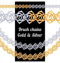 set chains metal brushes - gold and silver vector image