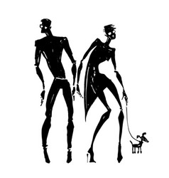 Silhouettes of woman and man vector