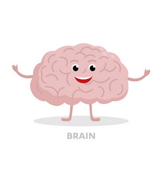 Smart brain cartoon character isolated on white vector