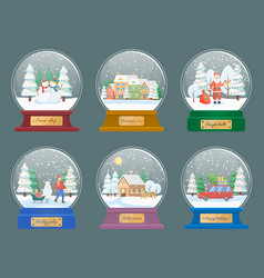 snow globes with christmas themed toys vector image