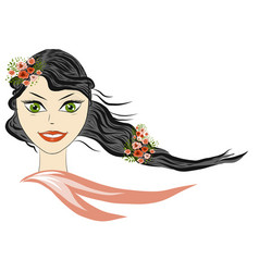 spring beautiful girl portrait girl spring vector image