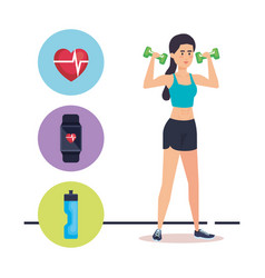 strong woman lifting weight vector image
