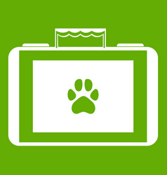 suitcase for animals icon green vector image
