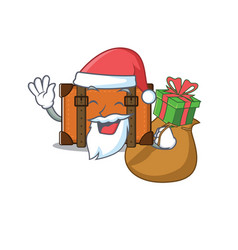 Suitcase with in cartoon santa bring gift vector
