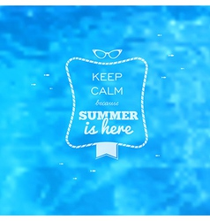 Summer card blue water pool blurry background vector image