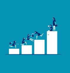 teamwork success business people help colleagues vector image