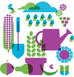 template of garden objects vector image
