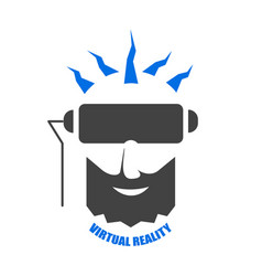 the head of man with beard in a helmet of vr vector image