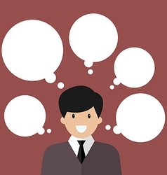 Thinking businessman with a lot of bubbles vector image