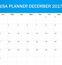 USA Planner blank for December 2017 Scheduler vector