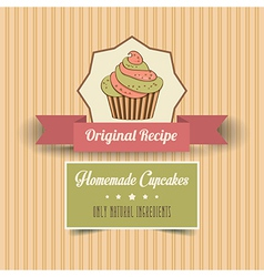 Vintage homemade cupcakes poster vector