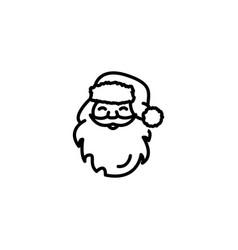 web line icon santa claus black on white vector image
