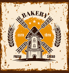windmill vintage advertising bakery banner vector image