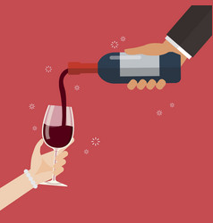 Wine pouring in wineglass vector