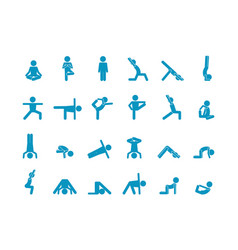yoga human stick large set abs swing and vector image