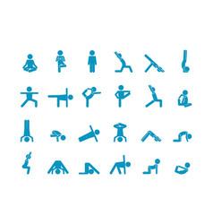 Yoga human stick large set abs swing vector