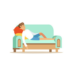Young man sitting on the sofa and sleeping vector