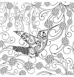 Zentangle stylized tropical bird in flower garden vector