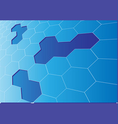 abstract blue hexagon mesh 3d crack background vector image vector image