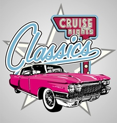 Classic cruise Night vector image vector image