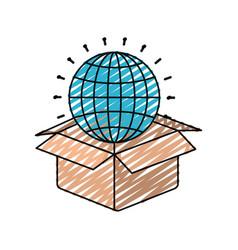 Color crayon silhouette globe earth world chart vector