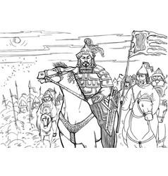 khan mongolian nomad on horseback and his horde vector image