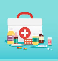 medical concept pills and bottles flat design vector image vector image