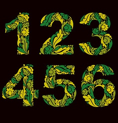 Numeration decorated with seasonal spring leaves 1 vector