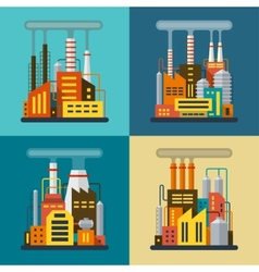 Set of flat industrial building factory and plant vector image