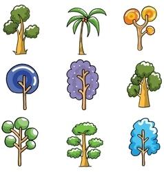 Unique tree set of doodles vector image vector image