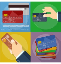 Using and operating credit cards vector image vector image