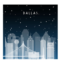 winter night in dallas night city in flat style vector image vector image