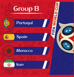 world cup 2018 group b team image vector image