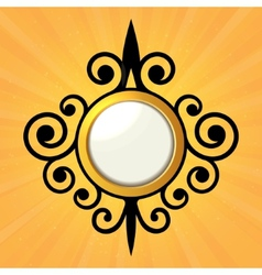 Blank Orange Sticker with Curled Border vector image vector image