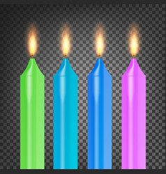 burning 3d realistic dinner candles flame vector image vector image
